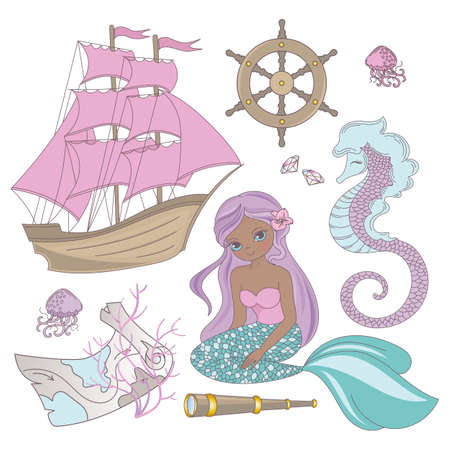 TRAVEL MERMAID Girl Princess Cartoon Sea Ocean Summer Tropical Cruise Vacation Vector Illustration Set for Print Fabric and Decoration Illustration