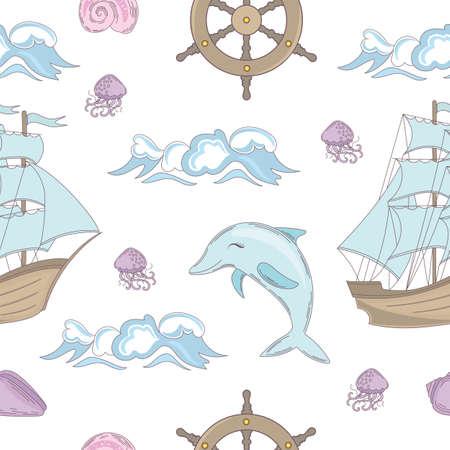 CRUISE TALE Ocean Sea Vacation Travel Tropical Summer Seamless Pattern Vector Illustration pour tissu d'impression et papier numérique