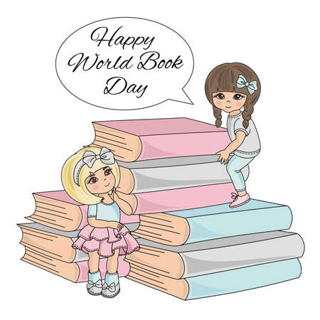 BOOK CHILD World Book Day Knowledge School Children Cartoon Vector Illustration Set for Print Fabric and Decoration 向量圖像