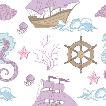 DREAM SHIP Ocean Sea Vacation Travel Cruise Tropical Summer Seamless Pattern Vector Illustration pour le tissu d'impression et le papier numérique Vecteurs