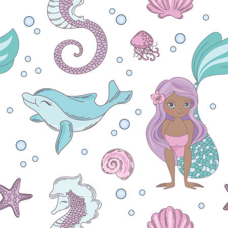 DOLPHIN SMILE Mermaid Princess Girl Underwater Tropical Sea Ocean Travel Cruise Vacation Seamless Pattern Vector Illustration for Print Fabric and Digital Paper