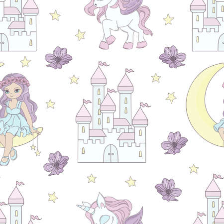 MOON PRINCESS Fairy Tale Magical Cartoon Seamless Pattern Vector Illustration for Print Fabric and Decoration