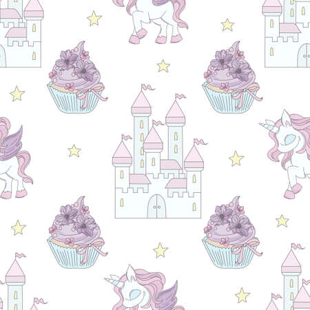 UNICORN CASTLE Fairy Tale Magical Cartoon Seamless Pattern Vector Illustration for Print Fabric and Decoration
