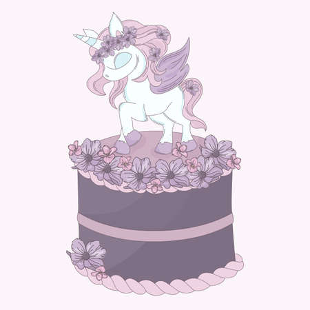 UNICORN CAKE Floral Decorative Party Birthday Wedding Invitation Congratulation Holiday Cartoon Animal Vector Illustration Set for Print Fabric and Decoration Vetores