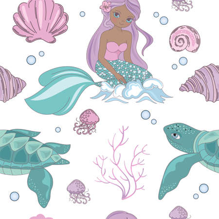 SEA WAVE Mermaid Princess Girl Underwater Tropical Sea Ocean Travel Cruise Vacation Seamless Pattern Vector Illustration for Print Fabric and Digital Paper