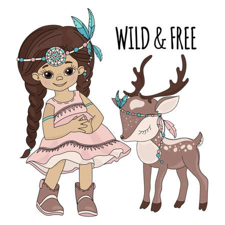 WILD FREEDOM Pocahontas Indian Princess American Native Red Skinned Deer Animal Vector Illustration Set for Print Fabric and Decoration