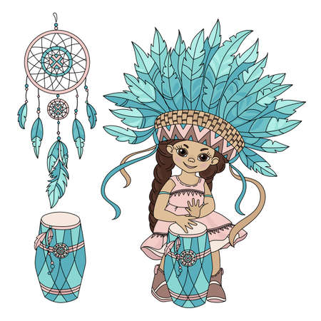 POCAHONTAS MUSIC American Native Red Skinned Indian Princess Vector Illustration Set for Print Fabric and Decoration