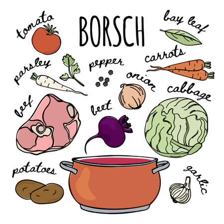 BORSCHT RECIPE National Russian Cuisine Traditional Soup Food Vector Illustration Set for Print Fabric and Decoration