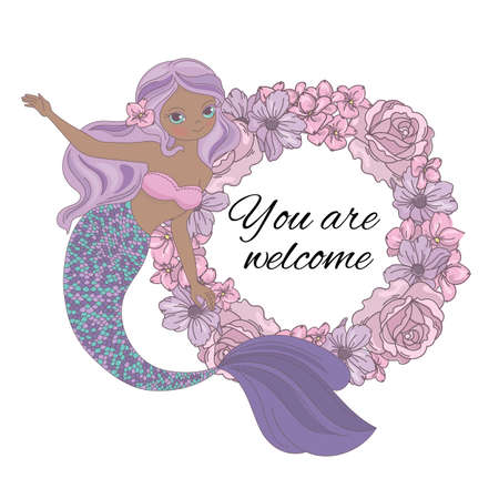 MERMAID WELCOME Floral Sea Princess Wreath Cartoon Tropical Summer Flower Wreath Vector Illustration Set for Print Fabric and Decoration Illustration
