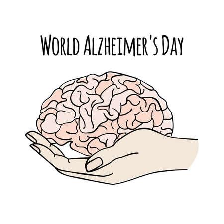 HEALTH CARE World Alzheimer Day Nervous System Anatomy Human Brain Medicine Vector Illustration