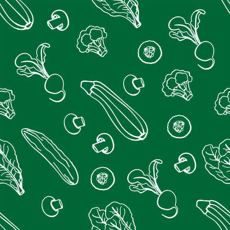 PALEO GREEN Healthy Food Low Carb Diet Proper Nutrition Seamless Pattern Vector Illustration Set for Print Fabric and Digital Paper