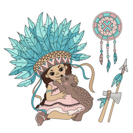 POCAHONTAS BEAR American Native Red Skinned Indian Princess Animal Vector Illustration Set for Print Fabric and Decoration