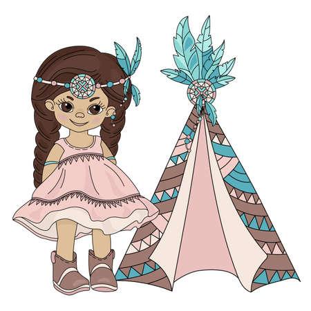 POCAHONTAS WIGWAM, nativo americano, indio, piel roja, princesa, hogar, vector, ilustración, conjunto, para, impresión, tela, y, decoración Ilustración de vector