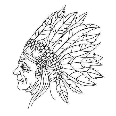 American Native Red Skinned Indian Woman Portrait Vector Illustration for Print Fabric and Decoration