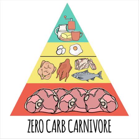CARNIVORE PIRAMID Biologisch gezond voedsel, goede voeding, geest etende vectorillustratieset