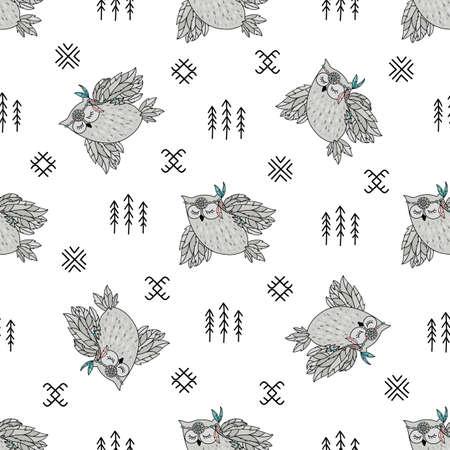 Búho indio americano nativo folk cultura étnica sin fisuras patrón ilustración vectorial para tela de impresión y papel digital Ilustración de vector
