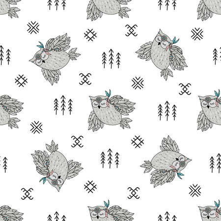 INDIAN OWL American Native Folk Ethnic Culture Seamless Pattern Vector Illustration for Print Fabric and Digital Paper