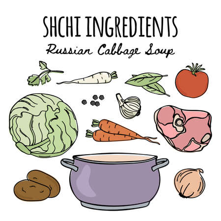 SHCHI National Russian Cuisine Traditional Soup Recipe Food Vector Illustration Set for Print Fabric and Decoration