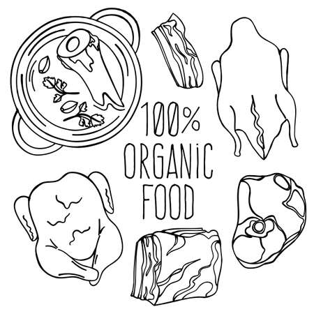 MEAT FOOD Carnivore Diet Organic Healthy Proper Nutrition Mind Eating Vector Illustration Set
