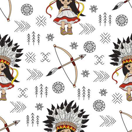 POCAHONTAS ARROW American Native Folk Ethnic Culture Seamless Pattern Vector Illustration for Print Fabric and Digital Paper Ilustración de vector