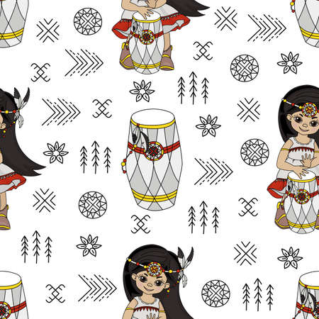 POCAHONTAS RHYTHM American Native Folk Ethnic Culture Seamless Pattern Vector Illustration for Print Fabric and Digital Paper