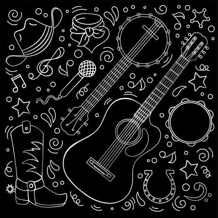 COUNTRY MUSIC American Cowboy Western Festival Vector Illustration Set for Print Fabric and Decoration