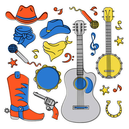 COUNTRY MUSIC BAND American Cowboy Western Festival Vector Illustration Set for Print Fabric and Decoration
