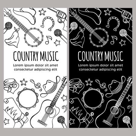 COUNTRY MUSIC FLYER American Cowboy Western Festival Vector Illustration Set for Print Fabric and Decoration