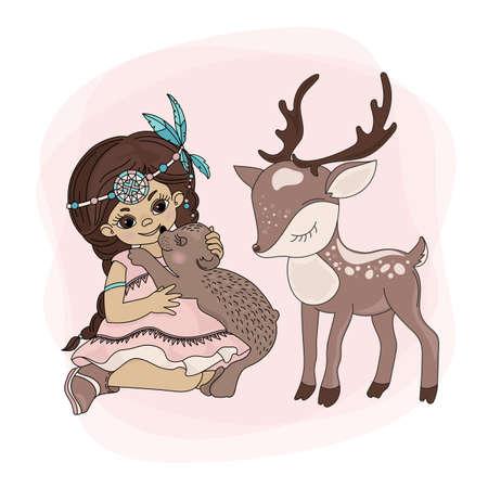 POCAHONTAS ANIMALES American Native Red Skinned Indian Princess Pets Ilustración vectorial para tela estampada y decoración