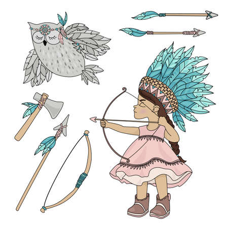 POCAHONTAS OWL American Native Red Skinned Indian Princess Vector Illustration Set for Print Fabric and Decoration Ilustración de vector