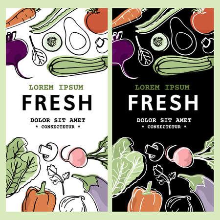 RAW FLYER Healthy Food Low Carb Diet Organic Proper Nutrition Text Banner Vector Illustration Set for Print Illusztráció