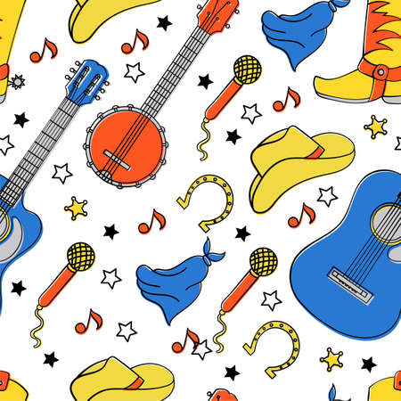 COUNTRY INSTRUMENTS American Cowboy Music Western Festival Seamless Pattern Vector Illustration for Print Fabric and Digital Paper