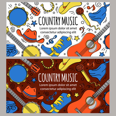 COUNTRY MUSIC BANNER American Cowboy Western Festival Vector Illustration Set for Print Fabric and Decoration