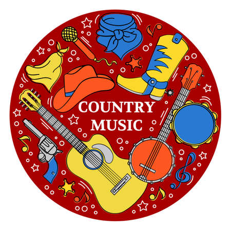 COUNTRY MUSIC STICKER American Cowboy Western Festival Vector Illustration for Print Fabric and Decoration