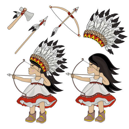 INDIAN HUNTER American Native Indian Princess Pocahontas Vector Illustration Set for Print Fabric and Decoration