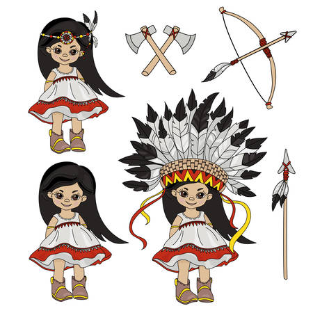 POCAHONTAS HOLIDAY American Native Indian Princess Vector Illustration Set for Print Fabric and Decoration Ilustración de vector