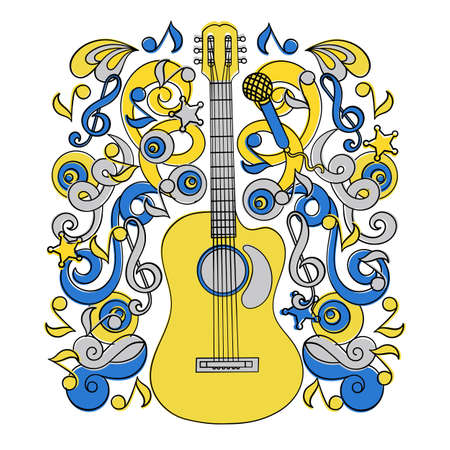 COUNTRY MUSIC HOLIDAY American Cowboy Western Festival Doodle Vector Illustration Set for Print Fabric and Decoration