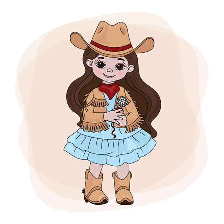 COWGIRL SINGER American Cowboy Western Music Festival Vector Illustration Set for Print Fabric and Decoration  イラスト・ベクター素材