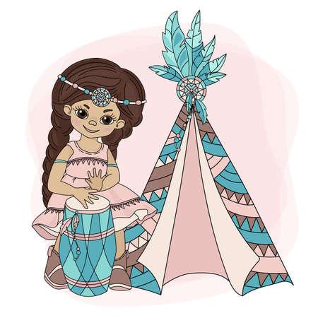 GIRL WIGWAM American Native Pocahontas Indian Princess Home Vector Illustration Set for Print Fabric and Decoration