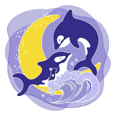 KILLER WHALE LOVE Cartoon Underwater Sea Ocean Cruise Travel Tropical Animal Vector Illustration Set for Print Fabric and Decoration
