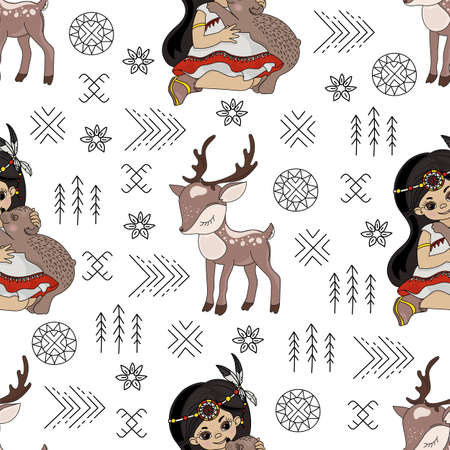 POCAHONTAS DEER Animal American Native Folk Ethnic Culture Seamless Pattern Vector Illustration for Print Fabric and Digital Paper