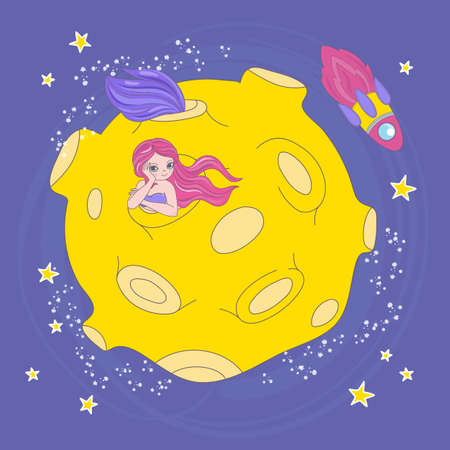 MERMAID MOON HOME Cartoon Space Galaxy Journey Traveling Vector Illustration Set for Print Fabric and Decoration 向量圖像