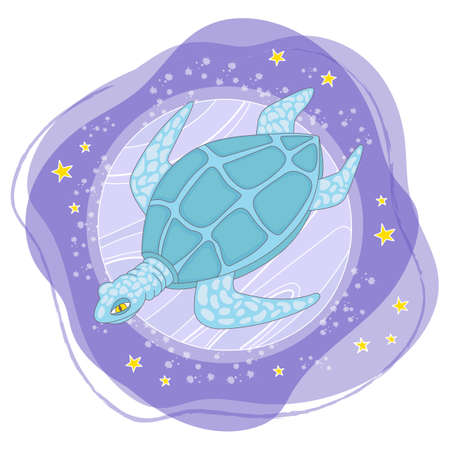 MOON TURTLE Cartoon Space Galactic Journey Traveling Travel Animal Vector Illustration Set for Print Fabric and Decoration