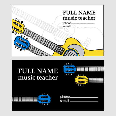 MUSIC BUSINESS CARD Guitar Teacher Education Vector Illustration Set for Print Fabric and Decoration