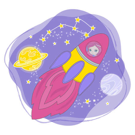 ROCKET GIRL Cartoon Space Galaxy Princess Journey Traveling Vector Illustration Set for Print Fabric and Decoration