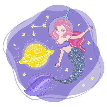 SPACE MERMAID Cartoon Cosmos Galactic Princess Journey Traveling Vector Illustration Set for Print Fabric and Decoration