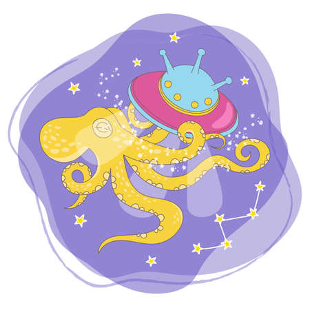 SPACE OCTOPUS Cartoon Cosmos Galactic Journey Traveling Travel Animal Vector Illustration Set for Print Fabric and Decoration
