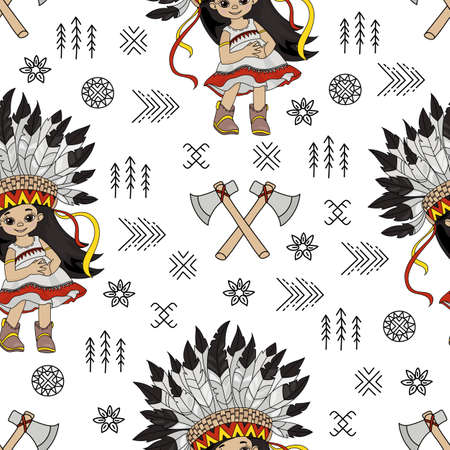 TOMAHAWK GIRL Pocahontas Indian Princess American Native Folk Ethnic Culture Seamless Pattern Vector Illustration for Print Fabric and Digital Paper