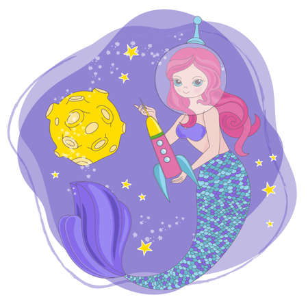 MERMAID ROCKET Space Cartoon Cosmos Galactic Universe Princess Journey Traveling Vector Illustration Set for Print Fabric and Decoration 向量圖像