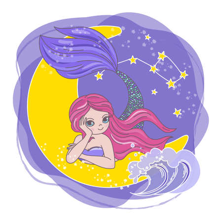 MOON MERMAID Space Cartoon Cosmos Galactic Universe Princess Journey Traveling Vector Illustration Set for Print Fabric and Decoration